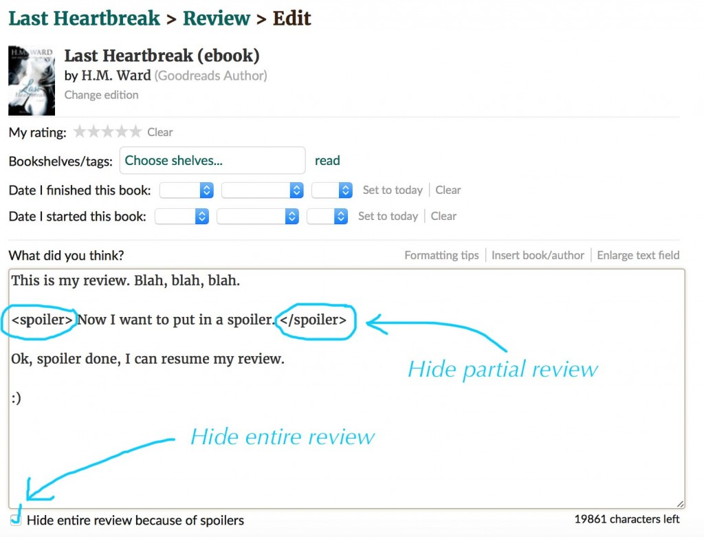 How to hide a spoiler on Goodreads